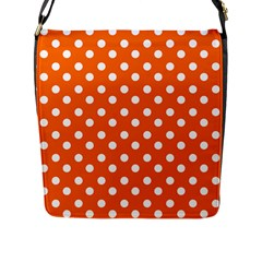 Orange And White Polka Dots Flap Messenger Bag (l)  by creativemom