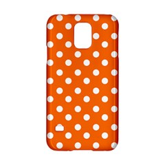 Orange And White Polka Dots Samsung Galaxy S5 Hardshell Case  by creativemom