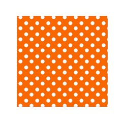 Orange And White Polka Dots Small Satin Scarf (square)  by creativemom