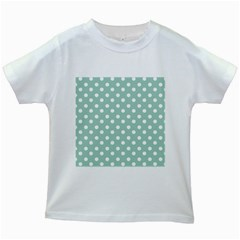 Light Blue And White Polka Dots Kids White T Shirts by creativemom