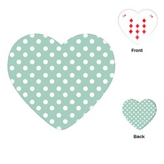 Light Blue And White Polka Dots Playing Cards (heart)  by creativemom