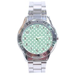 Light Blue And White Polka Dots Stainless Steel Men s Watch by creativemom