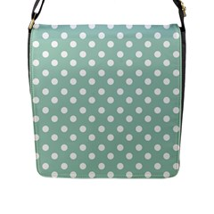 Light Blue And White Polka Dots Flap Messenger Bag (l)  by creativemom