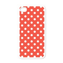 Indian Red Polka Dots Apple Iphone 4 Case (white) by creativemom