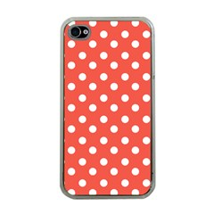 Indian Red Polka Dots Apple Iphone 4 Case (clear) by creativemom