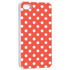 Indian Red Polka Dots Apple Iphone 4/4s Seamless Case (white) by creativemom
