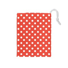 Indian Red Polka Dots Drawstring Pouches (medium)  by creativemom