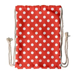 Indian Red Polka Dots Drawstring Bag (large) by creativemom