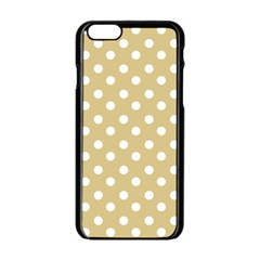 Mint Polka And White Polka Dots Apple Iphone 6 Black Enamel Case by creativemom