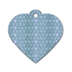 Geo Fun 7 Light Blue Dog Tag Heart (one Side)