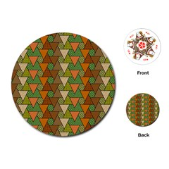 Geo Fun 7 Warm Autumn  Playing Cards (round)  by MoreColorsinLife
