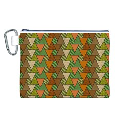 Geo Fun 7 Warm Autumn  Canvas Cosmetic Bag (l) by MoreColorsinLife