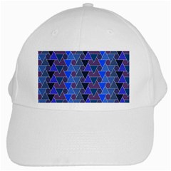 Geo Fun 7 Inky Blue White Cap by MoreColorsinLife