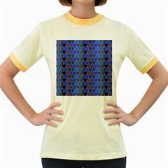 Geo Fun 7 Inky Blue Women s Fitted Ringer T-Shirts by MoreColorsinLife
