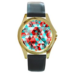 Geo Fun 07 Red Round Gold Metal Watches by MoreColorsinLife