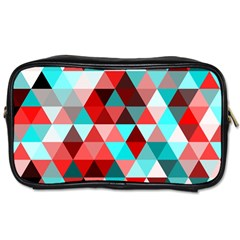 Geo Fun 07 Red Toiletries Bags 2 Side by MoreColorsinLife