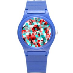 Geo Fun 07 Red Round Plastic Sport Watch (s) by MoreColorsinLife