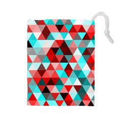 Geo Fun 07 Red Drawstring Pouches (large)  by MoreColorsinLife