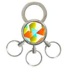 Geometric 03 Orange 3 Ring Key Chains by MoreColorsinLife