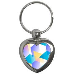 Geometric 03 Blue Key Chains (heart)  by MoreColorsinLife