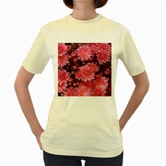 Awesome Flowers Red Women s Yellow T Shirt by MoreColorsinLife