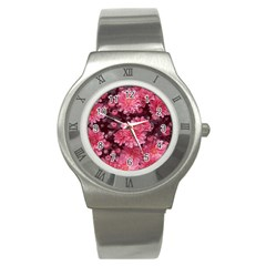 Awesome Flowers Red Stainless Steel Watches by MoreColorsinLife