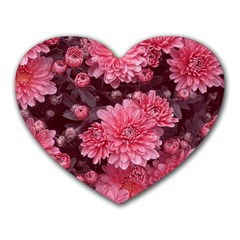 Awesome Flowers Red Heart Mousepads by MoreColorsinLife
