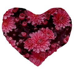 Awesome Flowers Red Large 19  Premium Flano Heart Shape Cushions by MoreColorsinLife