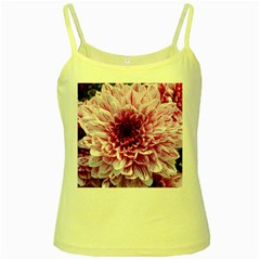 Wonderful Flowers Yellow Spaghetti Tanks