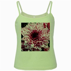 Wonderful Flowers Green Spaghetti Tanks