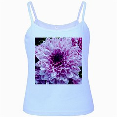 Wonderful Flowers Baby Blue Spaghetti Tanks