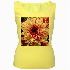 Wonderful Flowers Women s Yellow Tank Tops
