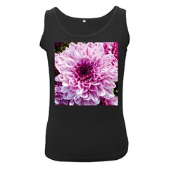 Wonderful Flowers Women s Black Tank Tops