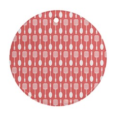Coral And White Kitchen Utensils Pattern Round Ornament (two Sides)  by creativemom