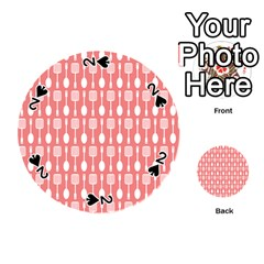 Coral And White Kitchen Utensils Pattern Playing Cards 54 (round)