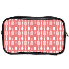 Coral And White Kitchen Utensils Pattern Toiletries Bags 2 Side by creativemom