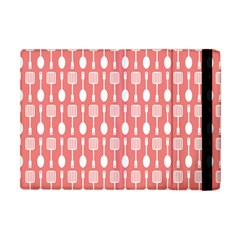 Coral And White Kitchen Utensils Pattern Apple iPad Mini Flip Case by creativemom
