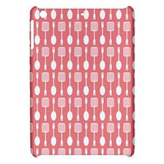 Coral And White Kitchen Utensils Pattern Apple Ipad Mini Hardshell Case by creativemom
