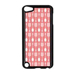 Coral And White Kitchen Utensils Pattern Apple Ipod Touch 5 Case (black) by creativemom