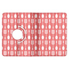 Coral And White Kitchen Utensils Pattern Kindle Fire Hdx Flip 360 Case by creativemom