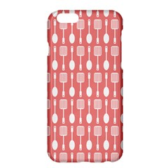 Coral And White Kitchen Utensils Pattern Apple Iphone 6/6s Plus Hardshell Case by creativemom