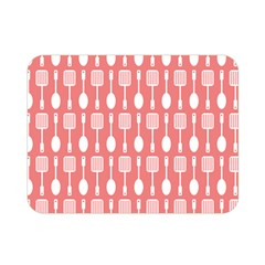 Coral And White Kitchen Utensils Pattern Double Sided Flano Blanket (mini)  by creativemom