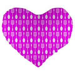 Purple Spatula Spoon Pattern Large 19  Premium Heart Shape Cushions by creativemom