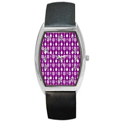Magenta Spatula Spoon Pattern Barrel Metal Watches by creativemom