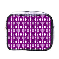 Magenta Spatula Spoon Pattern Mini Toiletries Bags by creativemom
