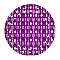 Magenta Spatula Spoon Pattern Ornament (round Filigree)  by creativemom