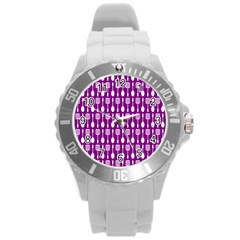 Magenta Spatula Spoon Pattern Round Plastic Sport Watch (l) by creativemom