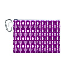 Magenta Spatula Spoon Pattern Canvas Cosmetic Bag (m)