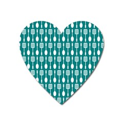 Teal And White Spatula Spoon Pattern Heart Magnet by creativemom