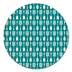 Teal And White Spatula Spoon Pattern Magnet 5  (round) by creativemom